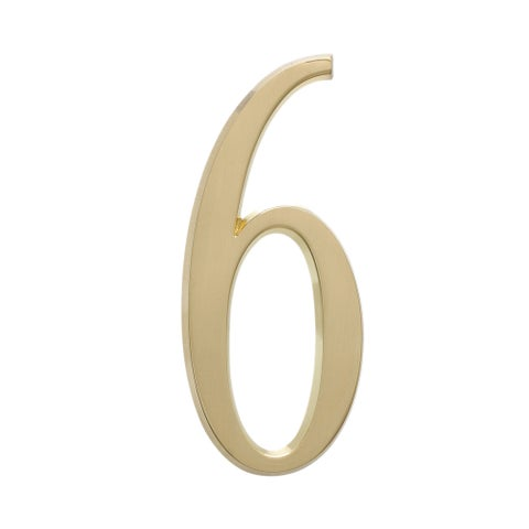 White Hall Satin Brass 4.75-inch Home Outdoor Number 6