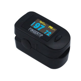 Concord BlackOX Deluxe Fingertip Pulse Oximeter with 6-way OLED Display, Carrying Case, Lanyard, and Protective Cover