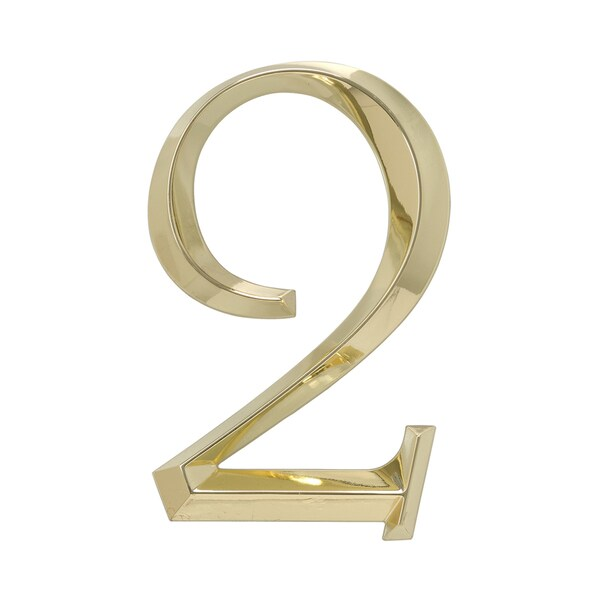 White Hall Polished Brass Zinc 6-inch Number 2 Decal