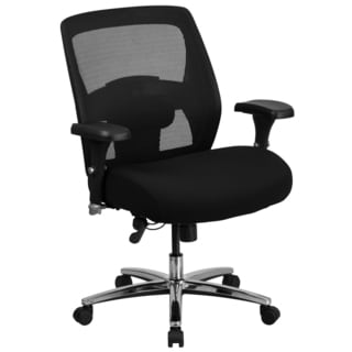 Portales Big & Tall Multi-shift Adjustable Swivel Black Office Chair with Thick Padded Fabric Seat and Adjustable Arms