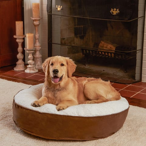 Happy Hounds Scout Deluxe Latte Round Dog Bed