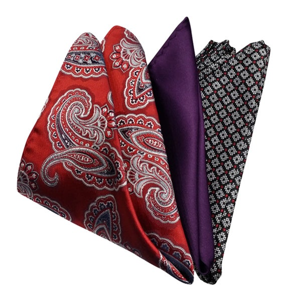 Dmitry Mens Multicolored Italian Silk Pocket Squares (Pack of 3)