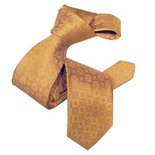 Dmitry Men's Yellow Italian Patterned Silk Tie