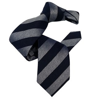 Dmitry Men's Navy/Grey Stiped Italian Patterned Silk Tie