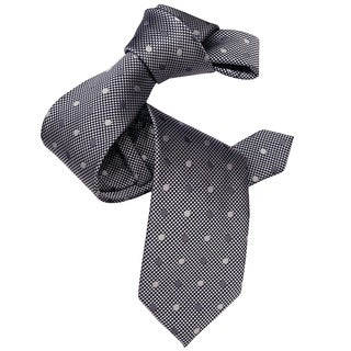 Dmitry Men's Grey Polka-dot Patterned Italian Silk Tie