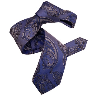 Dmitry Men's Blue Paisley Italian Patterned Silk Tie