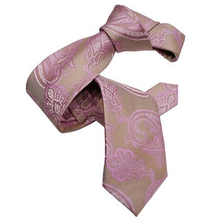 Dmitry Men's Pink Paisley Italian Patterned Silk Tie