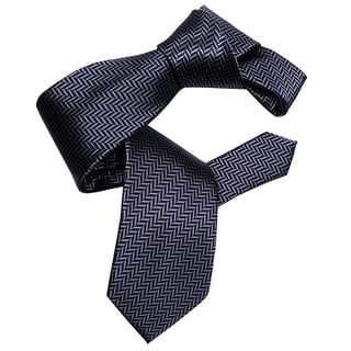 Dmitry Men's Patterned Navy Herringbone Italian Silk Tie