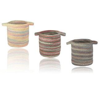 Multi-Color Braided Hamper w/Strap Handles 16x16x17