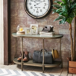 INK+IVY Cambridge Hammered Antique Silver Round Console Table