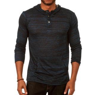 Something Relaxing Long Sleeve Henley Pullover Hoodie in Dark Blue