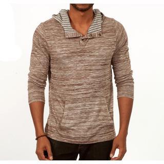 Something Relaxing Long Sleeve Henley Pullover Hoodie in Grey