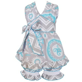Ann Loren Girls' Medallion Blue and Grey Cotton Halter and Shorts Spring Outfit