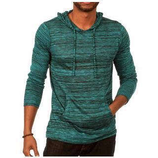 Something Standard Long Sleeve Pullover Hoodie in Medium Blue