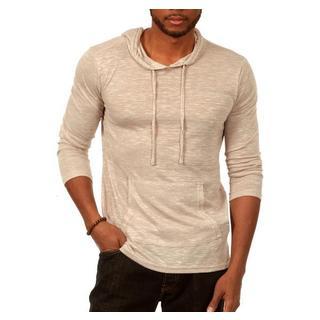 Something Standard Long Sleeve Pullover Hoodie in Light Grey