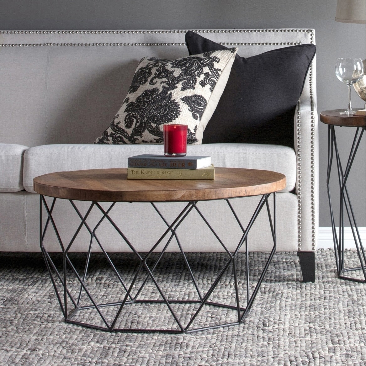 Remarkable Chester Wood And Iron Geometric Round Coffee Table By Kosas Home Andrewgaddart Wooden Chair Designs For Living Room Andrewgaddartcom