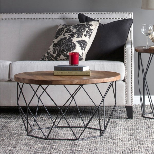 Standard Size Of Round Coffee Table: Shop Chester Wood And Iron Geometric Round Coffee Table By