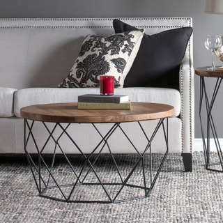 chester wood and iron geometric round coffee table by kosas home