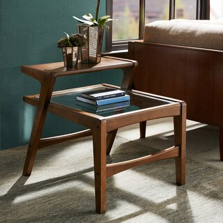 INK+IVY Rocket Pecan Side Table with Glass