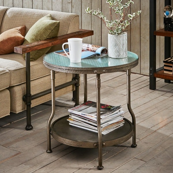 Delightful INK+IVY Cambridge Hammered Antique Silver Round End Table