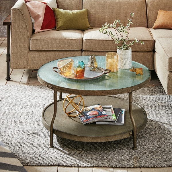 Ink Ivy Cambridge Hammered Antique Silver Round Coffee Table