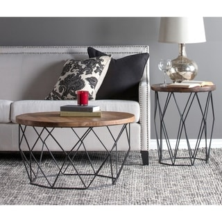 Chester Wood and Iron Geometric Round Side Table by Kosas Home