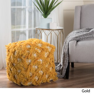 Christopher Knight Home Allure Fabric and Wool Pouf