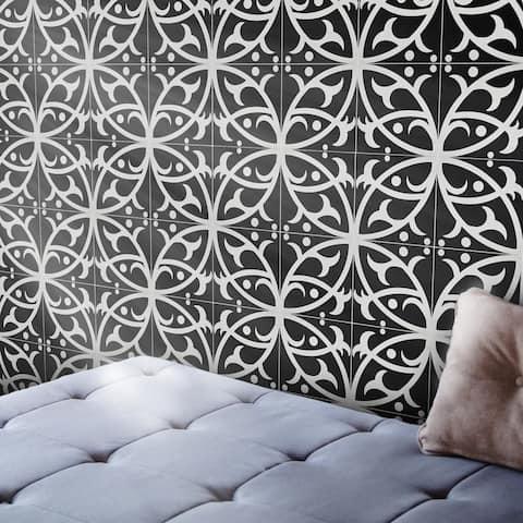 Handmade Hocima in Black and White Tile, Pack of 12 (Morocco)