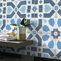 Azilal in an arrange of Blues Handmade 8x8-in Moroccan Tiles (Pack 12)
