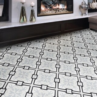 Chala White and Grey Handmade Moroccan 8 x 8 inch Cement and Granite Floor or Wall Tile (Case of 12)