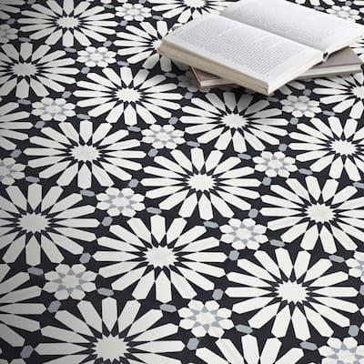 Handmade Alhambra in White, Black, Grey Tile, Pack of 12 (Morocco)