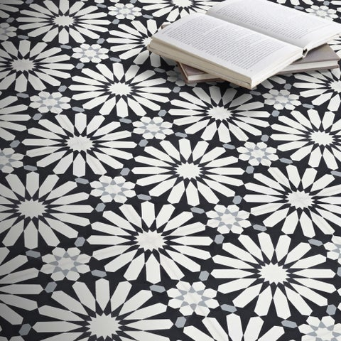 Alhambra Black and White Handmade Moroccan 8 x 8 inch Cement and Granite Floor or Wall Tile (Case of 12)