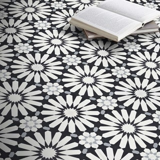 alhambra 12 pack black and white handmade cement 8x8 moroccan tiles morocco - Decorative Tiles