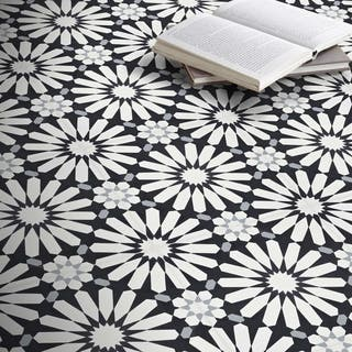 Alhambra Black and White Handmade Moroccan 8 x 8 inch Cement and Granite Floor or Wall Tile (Case of 12)|https://ak1.ostkcdn.com/images/products/14080642/P20691803.jpg?impolicy=medium