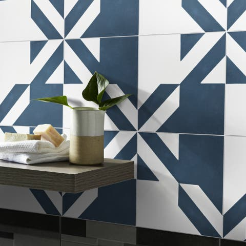 Tantan in Blue and White Handmade 8x8-in Moroccan Tiles (Pack 12)