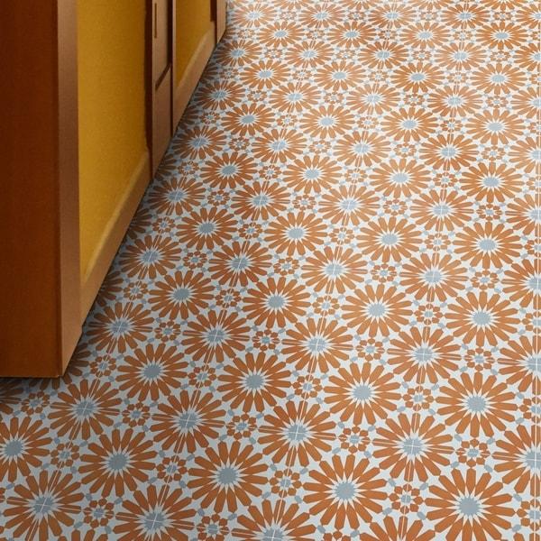 Handmade Alhambra Orange, Grey, White Tile, Pack of 12 (Morocco)
