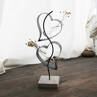 Heart to Heart Black Iron, Wood, and Glass 16-Inch Metal Vase