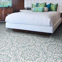 Atlas 12-pack Green/ White Handmade Moroccan Tiles (Morocco)