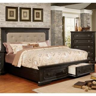 Furniture of America Hollen Wire-Brushed Black Tufted Storage Platform Bed
