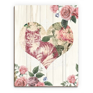 Cat Heart on Beige Wood Wall Art Print