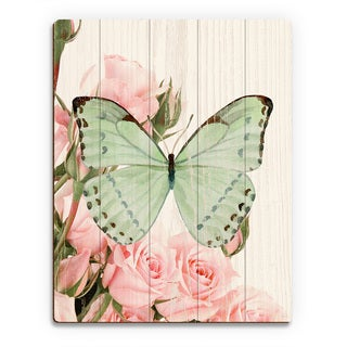 'Butterfly and Roses Garden Party' Wood Wall Art