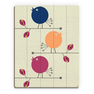 'Baby Birds Blue' Birchwood Handcrafted Wall Art Print