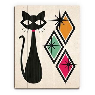 'Retro Cat With Diamonds Green' Wood Wall Art