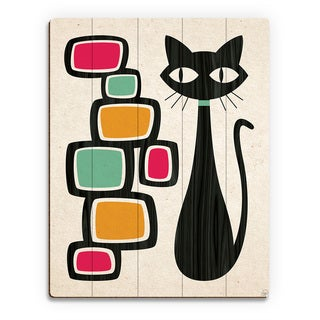 Retro Cat With Bubbles Orange Wood Wall Art