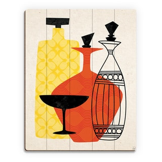 Retro Glass Red/Yellow Wood Wall Art Print