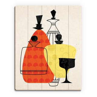 Retro Bottles Red and Yellow Print Wood Wall Art