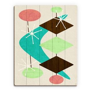'Bang Bang Boomerang' Green Birchwood Wall Art Print