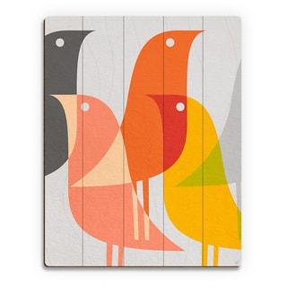 'Retro Bird Caravan Grapefruit' Wood Wall Art