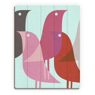 'Retro Bird Caravan' Pink Handcrafted Wood Wall Art Print