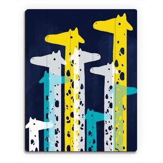 Giraffe Social Main Print Wood Wall Art